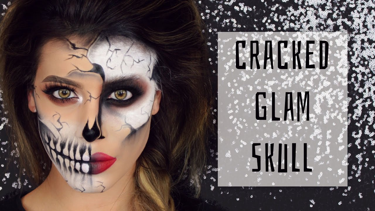 Glamorous Cracked Skull | Halloween Makeup - YouTube