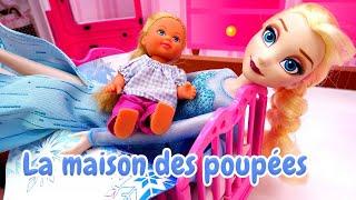 Elsa La Reine des Neiges. Evi ne veut pas dormir. Vidéo de poupées en français.