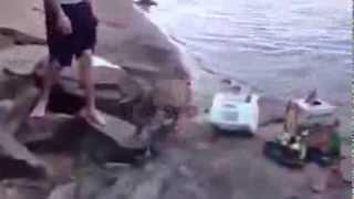 Perro se asusta cuando su dueño salta al Agua