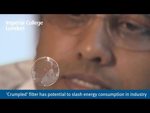 'Crumpled' filter has potential to slash energy consumption in industry