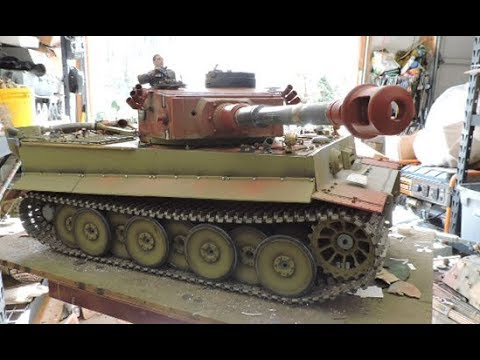 Vintage RC 1/6th scale armortek early production Tiger I Video#14 part 1 of 2 (Turret details)