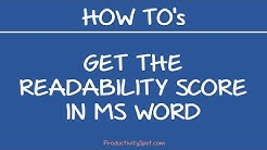 How to Get the Readability Score in MS Word (Flesch–Kincaid formula)