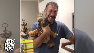 Dad finds out he's a grandpa with sweet teddy bear surprise | New York Post