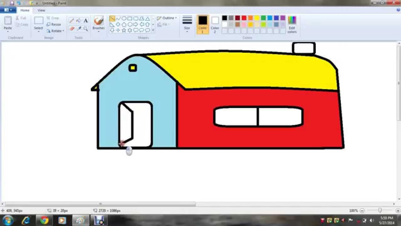 how to draw colourfull house 4 kids ms paint youtube - Paint Drawing For Kids