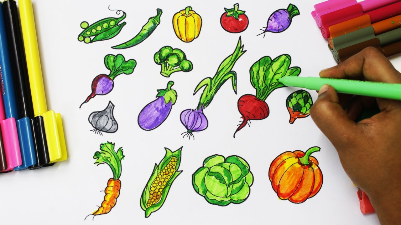 Nutrition Alphabet Coloring Pages : How to draw fruits and vegetables and coloring dresses for kids