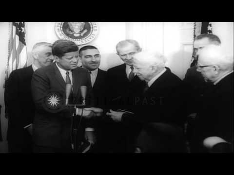 Robert Frost receives Congressional medal on his 88th birthday by President John ...HD Stock Footage