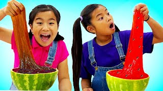 Jannie and Emma Make Watermelon Chocolate Slime  How to Make Slime for Kids