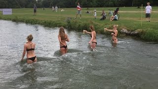 Beer Chugging Swimming Race in Munich Germany