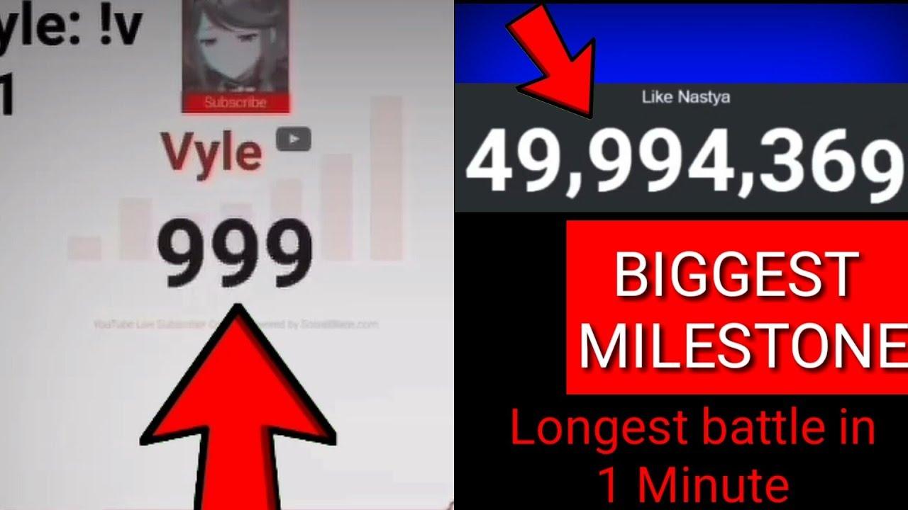 Vyle Hits 1,000 Subscribers And Like Nastya Hits 50 Million Subscribers
