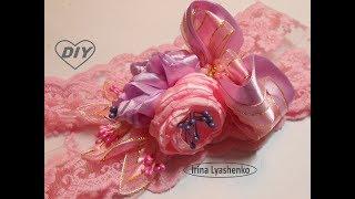 Украшение на повязку МК/ DIY Tiara with ribbon flowers/PAP Tiara com flores de fita#136