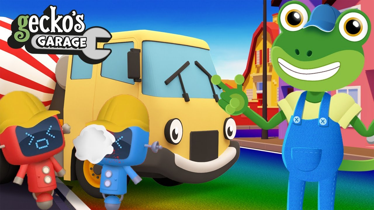 Mix It Up With A Cement Mixer!|Gecko's Garage|Funny Truck Cartoon For Kids|Learning For Toddlers