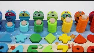 Детская развивающая игрушка сортер по системе Монтессори с магнитной рыбалкой цифрами и фигурками
