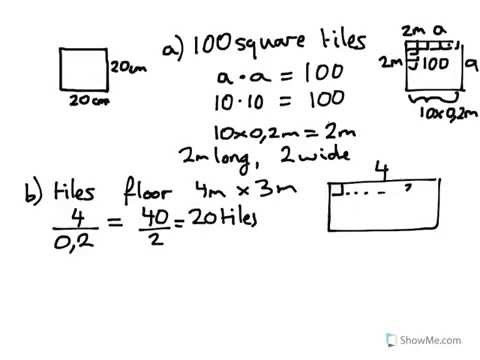 year 8 9 calculate cost of tiles to cover a floor 4mx3m each tile is 20cm squared