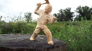 резьба по дереву. скульптура мужик с топором.часть 1 Wood carving(Средства на развитие канала принимаются принимаются на карту Сбербанка, № карты 4276020013514481(Visa Classic) (карта..., 2015-07-20T17:09:22.000Z)