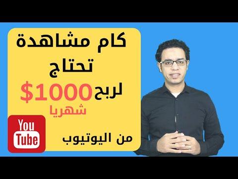 الربح من اليوتيوب، كم عدد المشاهدات اللازمه لنكسب المال حتي ١٠٠٠ دولار شهريا من اليوتيوب