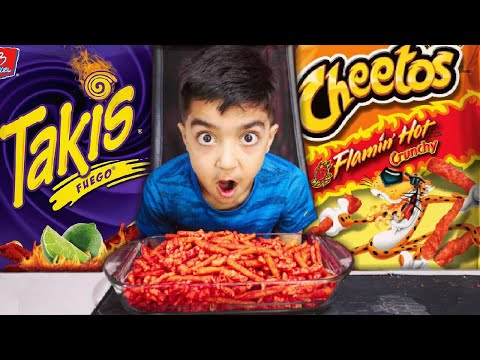 5 YEAR OLD ATTEMPTS FLAMIN HOT CHEETOS AND TAKIS FUEGO CHALLENGE!