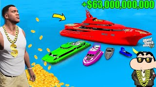 Shinchan Collecting BILLIONAIRE BOATS in GTA 5! Franklin Become Poor l Varun the gamer 2.0