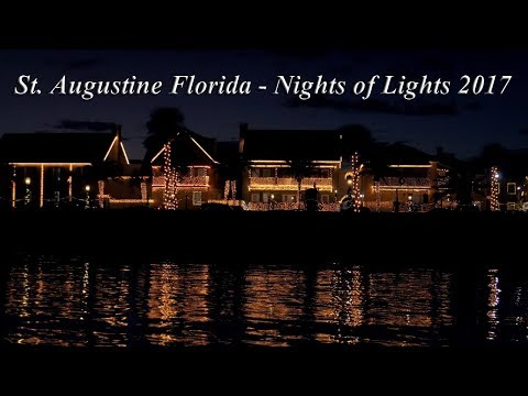 St. Augustine - Nights of Lights Boat Tour 2017 [4K]