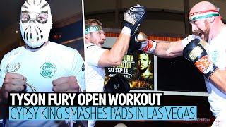 Full Tyson Fury public workout | Arrives in Mexican mask and destroys the pads!