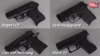 Baixar Ladies review the Glock 42, Colt XSP Mustang, S&W Bodyguard, & Ruger LCP