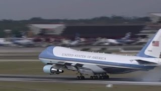 President Barack Obama lands in Cuba