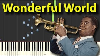 What a Wonderful World Louis Armstrong NORMAL speed Piano Tutorial Gravity falls Synthesia