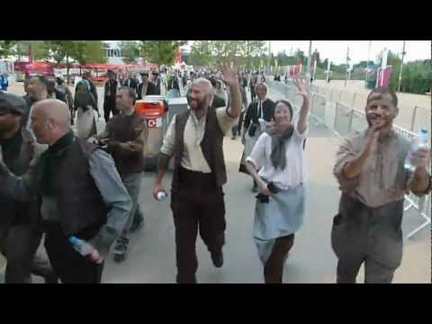backstage at the olympic ceremony 2012 - on the way to the stadium - industrial revolution
