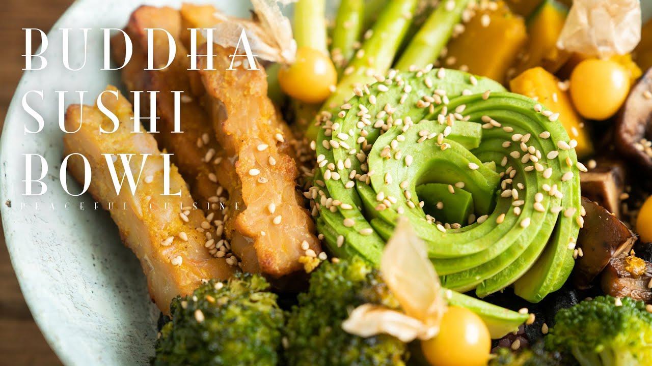 Buddha Sushi Bowl with Orange Sesame Sauce