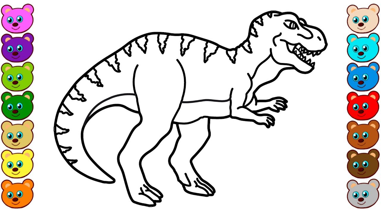 Coloring for Kids with T-Rex Dinosaur - Colouring Book for Children ...