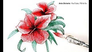 Cómo usar una pluma de vidrio y cómo dibujar una flor de la india