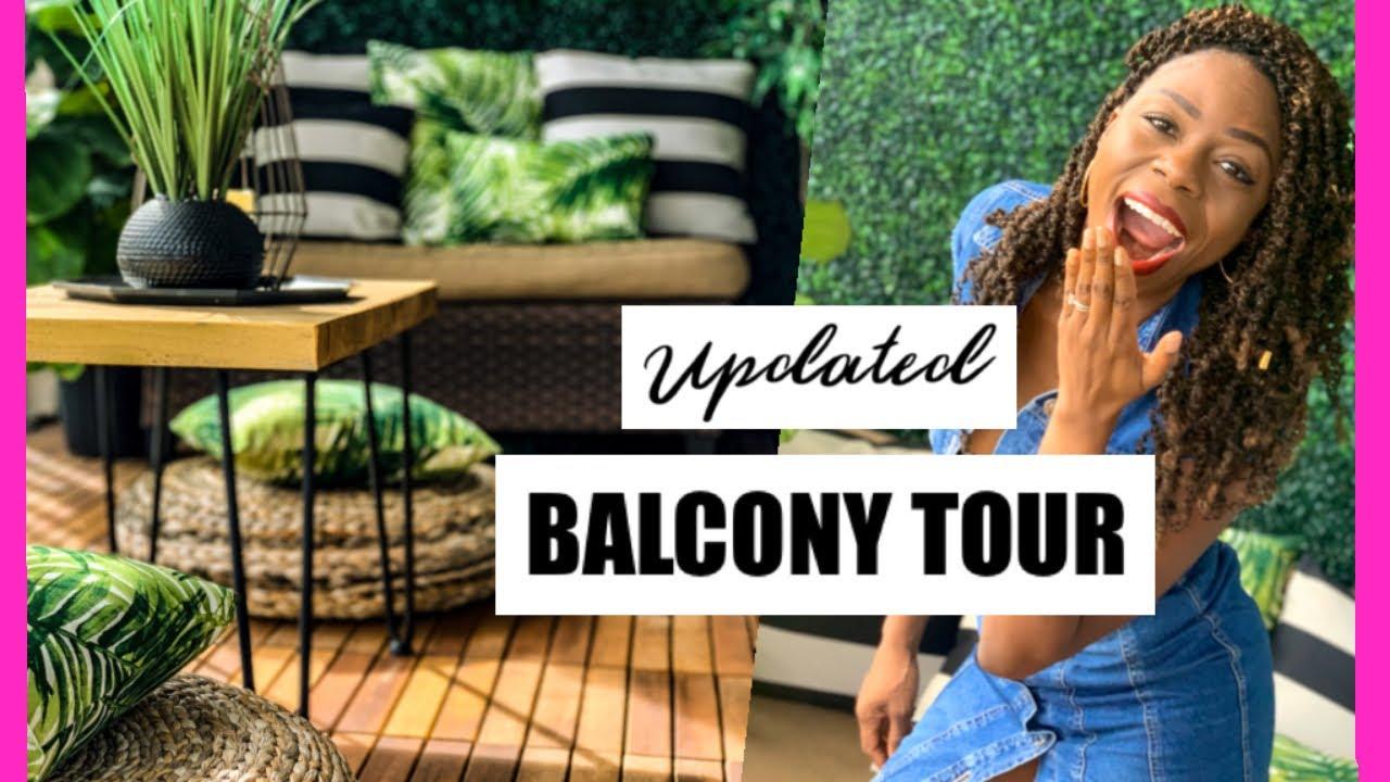 Updated Diy Small Balcony Makeover Tour Minimalist Patio Decorating Ideas Apartment Garden Decor Youtube