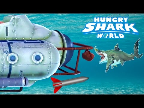 BOSS BATTLE! GIANT SUBMARINE vs MEGALODON! - Hungry Shark World Part 15 (Final Boss Battle)