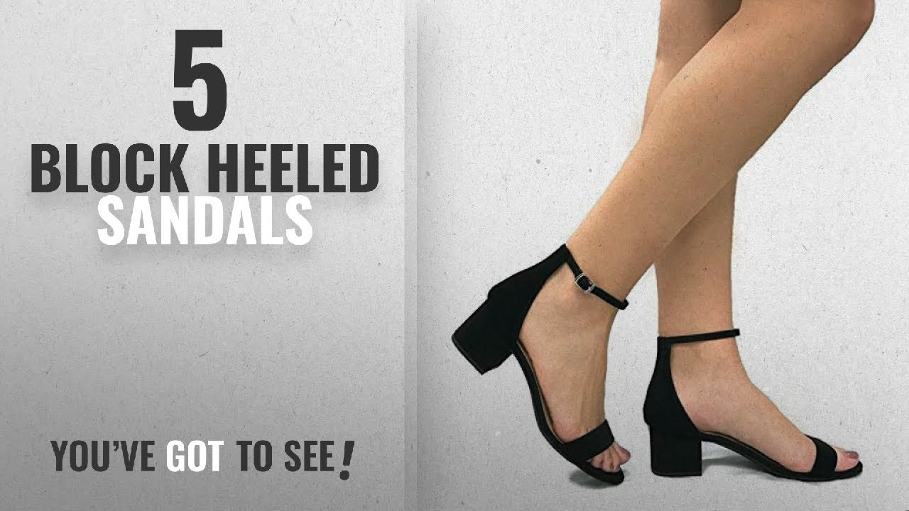 968b1a93102 Top 5 Block Heeled Sandals [2018]: City Classified Women's Block Open Toe  Ankle Strap Heeled