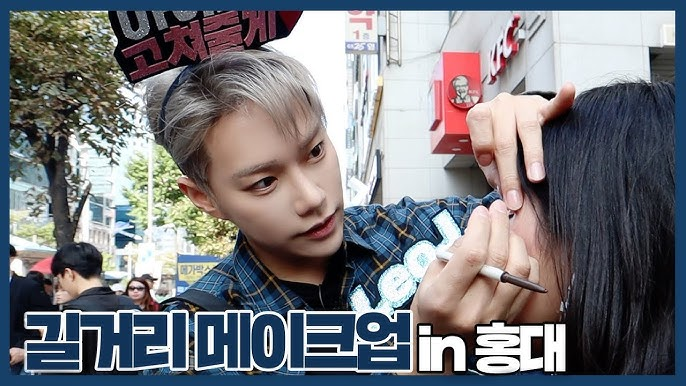 Doing Makeup on the hongdae street