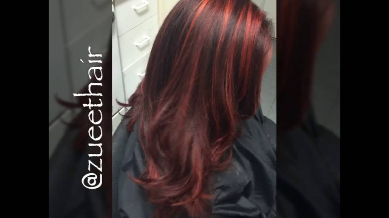 Deep Red Hair With Bright Red Highlights Youtube