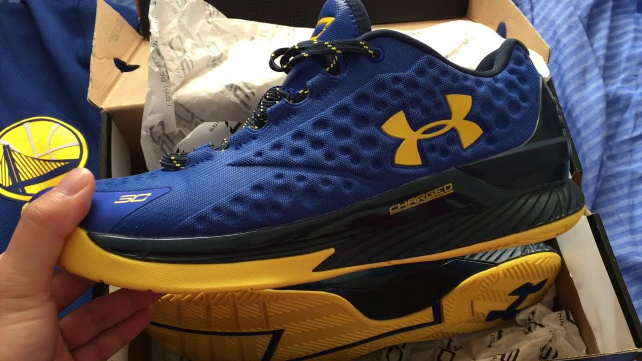 eb0b1e11c15 Under Armour UA Curry 1 Low (Blue Yellow Golden State Warriors GSW Colorway)