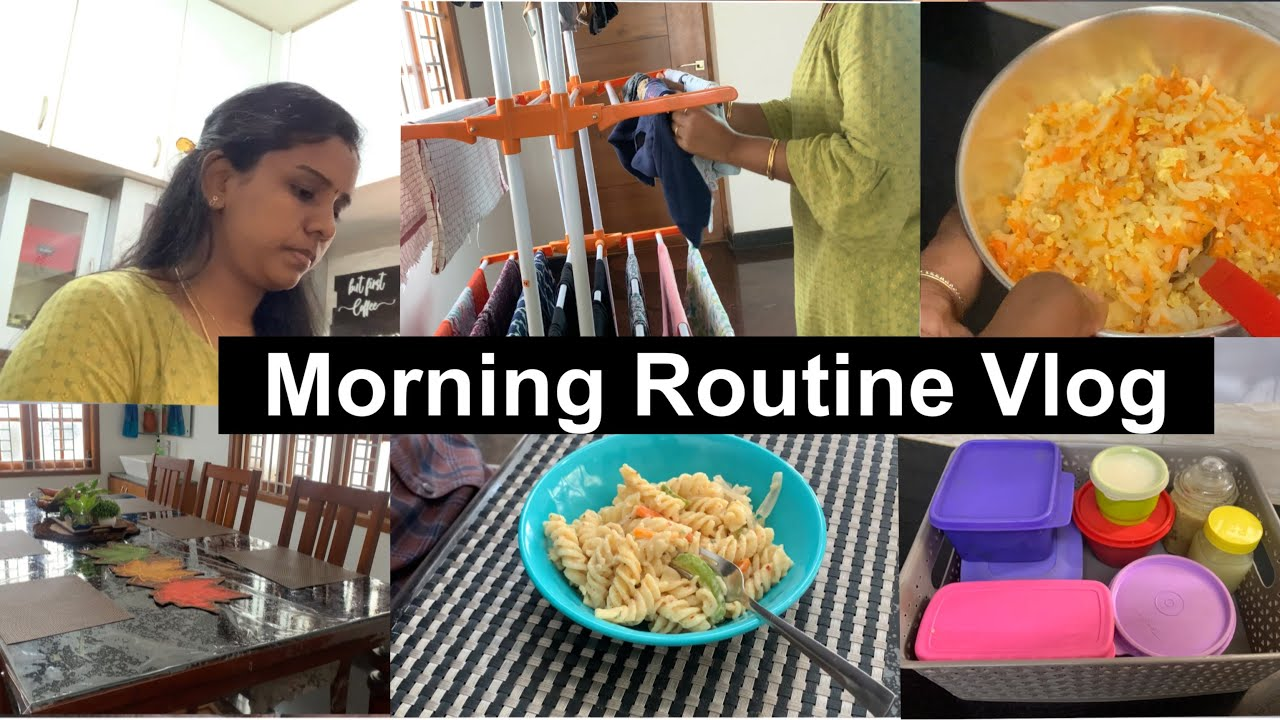 Morning Routine Vlog|Creamy White Sauce Pasta Recipe |Kids Lunch Carrot Egg Rice|Fridge Storage Tips