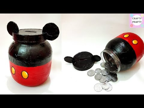 DIY Coin Bank/ DIY Mickey Mouse Piggy bank/ DIY Piggy Bank / How to make Piggy Bank