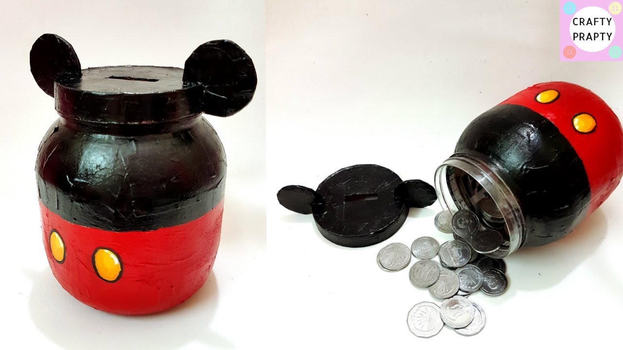Diy coin bank diy mickey mouse piggy bank diy piggy bank for How to make a coin bank