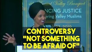 """Rep Omar tells supporters her facing controversy is """"not something to be afraid of"""""""