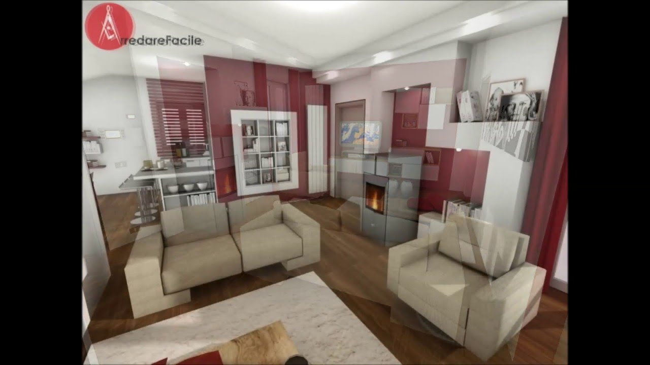 Soggiorno con stufa a pellet e cucina con penisola youtube - Soggiorno living con cucina ...