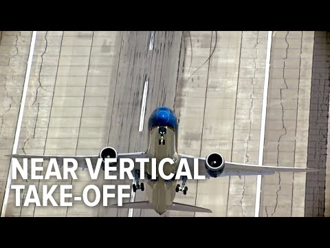 Amazing airplane take-off almost perpendicular to the ground