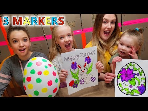 3 MARKER CHALLENGE (Girls Easter Edition) REAL GIANT EASTER EGG and Bunny Rabbit!!!