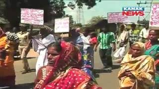 Protest In Angul For Corruption In Biju Pucca Ghar Yojana