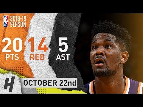 DeAndre Ayton Full Highlights Suns vs Warriors 2018.10.22 - 20 Pts, 14 Reb, 5 Ast!