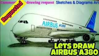 Lets Draw Airbus A380 || Sketches & Diagrams Art ||