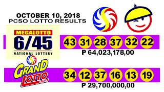 PCSO LOTTO RESULTS TODAY OCTOBER 10, 2018 (WEDNESDAY) 6/45,6/55