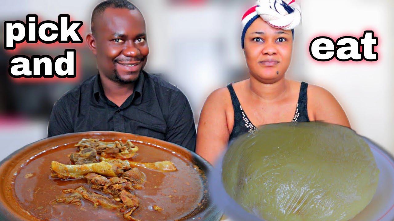 PICK and EAT MUKBANG CHALLENGE   OKRO PEPPER SOUP with FUFU MUKBANG   African food MUKBANG