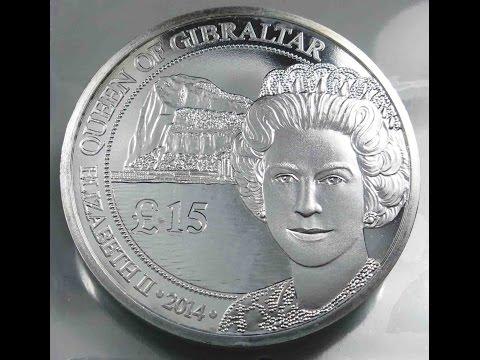 Gibraltar 15 £ Pounds 2014 Silver Coin Queen Elizabeth