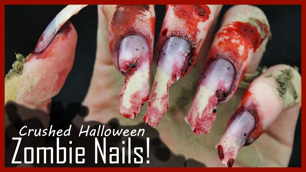 GROSS Zombie Nail Art for Halloween | Ripped/Crushed Nails ...